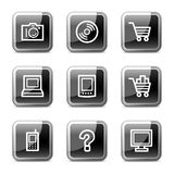 Electronics web icons, glossy buttons series vector illustration