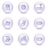 Electronics web icons, glossy pearl series set 2 Stock Images