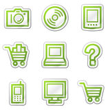 Electronics web icons, green contour sticker stock illustration