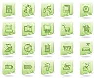 Electronics web icons, green document series Stock Images