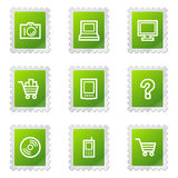 Electronics web icons, green stamp series Stock Image