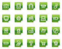 Electronics web icons, green sticker series. Vector web icons, green sticker series stock illustration