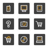 Electronics web icons, grey buttons series Stock Image