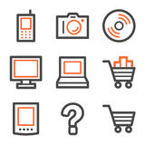 Electronics web icons, orange and gray contour Stock Image