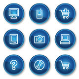 Electronics web icons set 1, blue circle buttons. Vector web icons set. Easy to edit, scale and colorize stock illustration