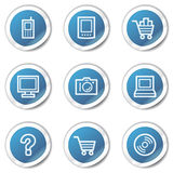 Electronics web icons set 1, blue sticker series Royalty Free Stock Photo