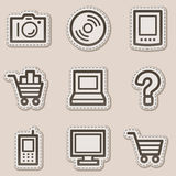 Electronics web icons set 1, brown contour sticker. Vector web icons set. Easy to edit, scale and colorize royalty free illustration
