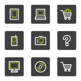 Electronics web icons set 1, grey square buttons Stock Image