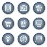 Electronics web icons set 1, mineral circle Royalty Free Stock Photo
