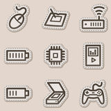 Electronics web icons set 2, brown contour sticker Royalty Free Stock Photos