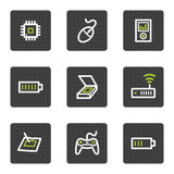 Electronics web icons set 2, grey square buttons Stock Photo
