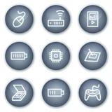 Electronics web icons set 2, mineral circle Stock Photo