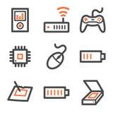 Electronics web icons set 2, orange-gray contour vector illustration