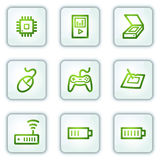 Electronics web icons set 2, white square buttons Royalty Free Stock Image