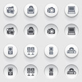 Electronics web icons on white buttons. Set 1. Vector icons set for websites, guides, booklets Stock Photos