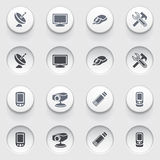 Electronics web icons on white buttons. Set 2. Vector icons set for websites, guides, booklets Royalty Free Stock Photo