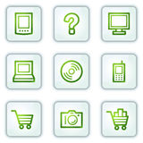 Electronics web icons, white square buttons series Royalty Free Stock Photo