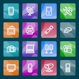 Electronics white icons on color buttons. Stock Photo