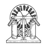 Electrostatic generator sketch engraving vector. Wimshurst machine electrostatic generator sketch engraving vector illustration. Scratch board style imitation royalty free illustration