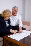 Elederly couple. Mature couple at work with some plans Stock Image