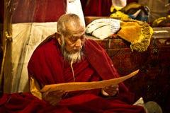 Elederly Lama Drepung monaster Lhasa Tybet Fotografia Stock