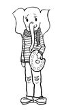 Elefant artist. Funny kind drawing cute Elephant artist in a sweater and jeans, black in white background Royalty Free Stock Image