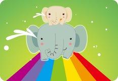 Elefant auf dem Regenbogen Stockfotos