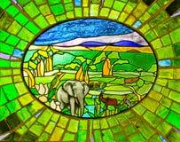 Elefant-Buntglas-Fenster Stockbild