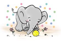 Elefant, der Ball spielt Lizenzfreie Stockbilder