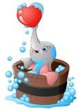 Elefant, der ein Herz in der Badewanne spielt stock abbildung