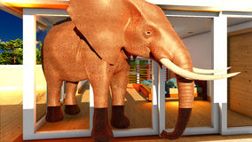 Elefant in der Wiedergabe des Wohnzimmers 3d Lizenzfreie Stockfotografie