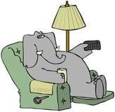 Elefant in einem Stuhl mit einer entfernten Station lizenzfreie abbildung