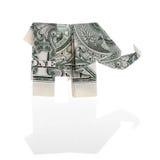 Elefant en dollarräkning Arkivbild