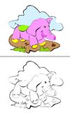 Elefant - färgläggningsida Arkivfoto