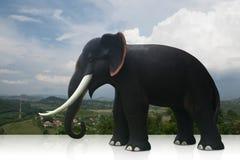 Elefant för svart för sidosikt på naturbakgrund arkivbild
