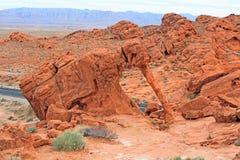 Elefant-Felsen im Tal des Feuers, Nevada stockbilder