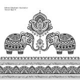 Elefant för grafisk lotusblomma för vektor för tappning sömlös etnisk indisk Royaltyfri Fotografi