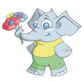 Elefant gibt Blumen Stockbilder