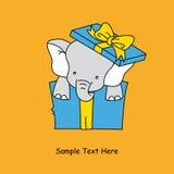 Elefant innerhalb eines Geschenkpakets Lizenzfreie Stockbilder