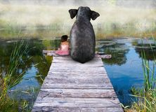 Elefant, Mädchen, Freund, Freunde, Freundschaft, Natur stockfoto