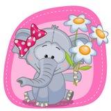 Elefant med blommor vektor illustrationer