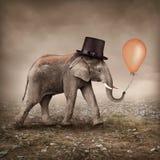 Elefant med en ballong Fotografering för Bildbyråer