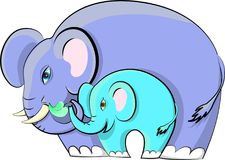 Elefant med en behandla som ett barnelefant Arkivfoton