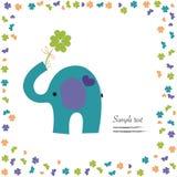 Elefant med hälsning för bra lycka för växt av släktet Trifoliumvektor Arkivbilder