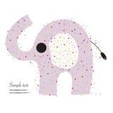 Elefant med kortet för hjärtavektorhälsning Royaltyfria Bilder