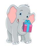 Elefant mit einem Geschenk Lizenzfreies Stockfoto