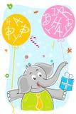 Elefant mit Geburtstagballon und -geschenk Lizenzfreie Stockfotos