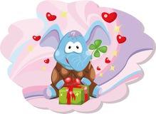 Elefant mit Geschenk Stockfoto