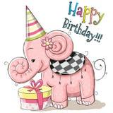 Elefant mit Geschenk Lizenzfreies Stockbild
