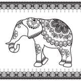 Elefant mit Grenzelementen in ethnischer mehndi Art Vektorschwarzweißabbildung lokalisiert auf weißem Hintergrund Lizenzfreies Stockfoto